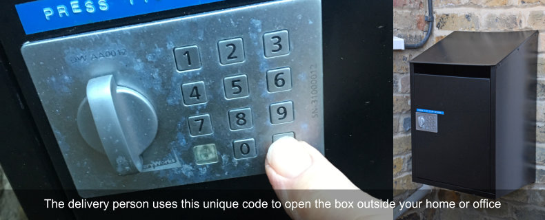 Unique code to open box outside home or office